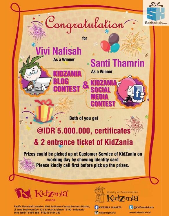 pemenang kontes blog kidzania berhadiah 5 juta