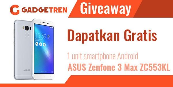 Gadgetren Giveaway Berhadiah 1 Smartphone ASUS Zenfone 3 Max ZC553KL