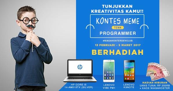 Lomba Meme Programmer Niagahoster Berhadiah HP Notebook, 2 Smartphone Lenovo & Uang