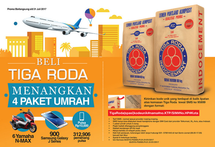 Promo Undian Semen Tiga Roda Berhadiah 4 Paket Umroh, 6 Yamah N-Max, 900 Smartphone & Pulsa