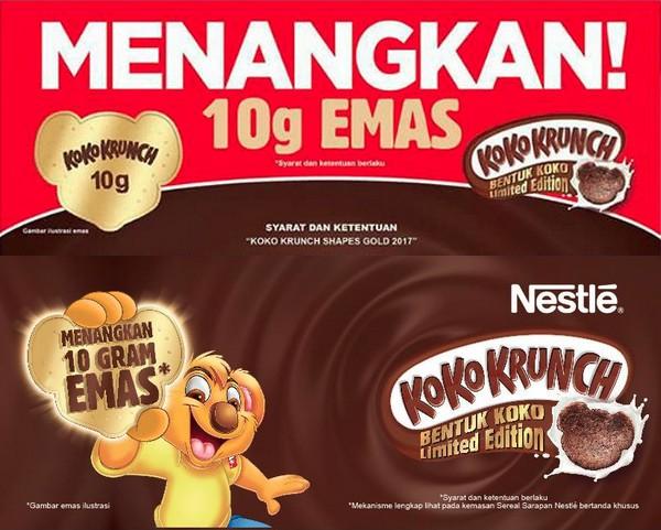 Promo Koko Krunch Shapes Gold 2017 Berhadiah 100 Keping Emas
